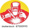illustration of a welder welding holding up welding equipment facing front done in retro woodcut style. - stock vector