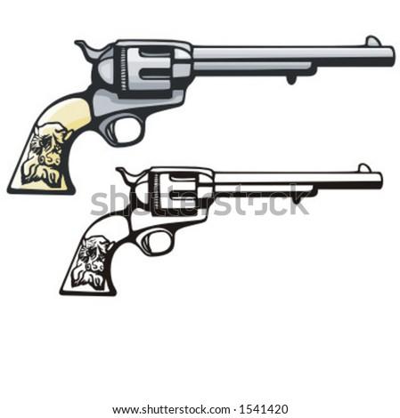 Illustration of a western revolver. - stock vector