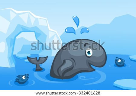 Illustration of a whale on an arctic vector background with ice floes, icebergs, water and fishes - stock vector