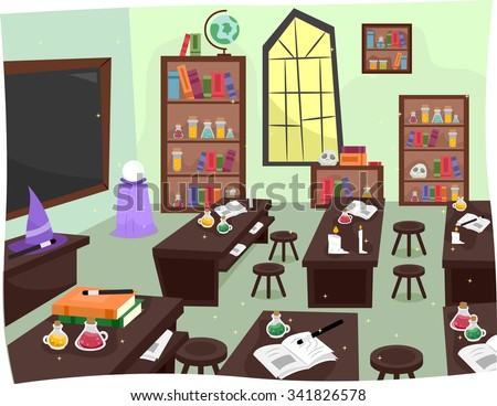 Illustration of a Whimsical Laboratory in a Wizardry School - stock vector