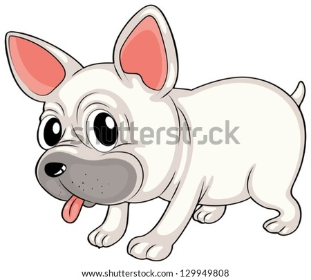 Illustration of a white bulldog on a white background