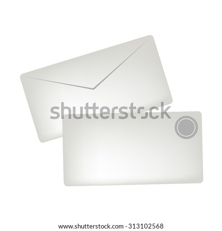 Illustration of A White Greeting Cards or Gift Cards with Badge, Copy Space for Text Decorated   - stock vector