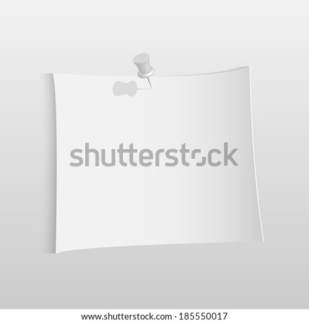 Illustration of a white paper note isolated on a white background.