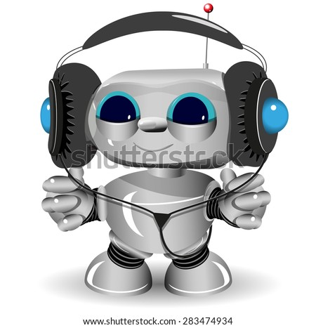 Illustration of a White robot listen to anything - stock vector