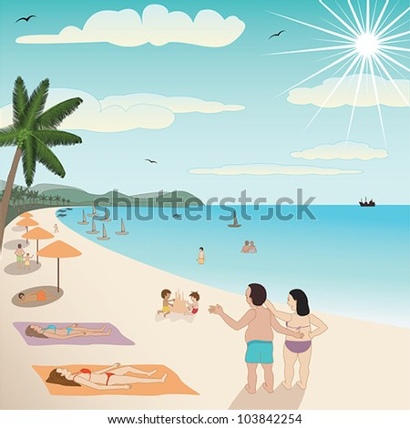 illustration of a white sand tropical beach with people enjoying the summer. - stock vector