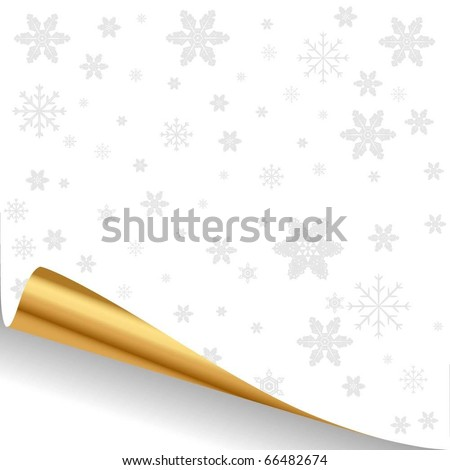 Illustration of a white sheet of paper with a gold curved edge. Vector. - stock vector