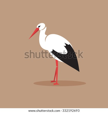 Illustration of a white stork on a brown background