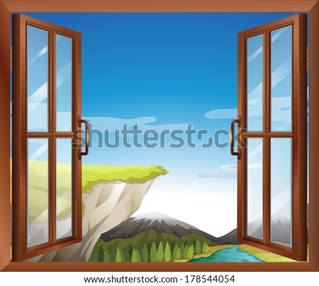 Illustration of a window with a view of the cliff at the river - stock vector