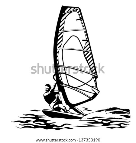 illustration of a windsurfer black and white
