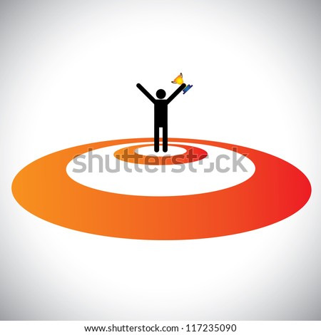 Illustration of a winner winning & celebrating. The graphic shows a person successfully reaching goal, winning the trophy and celebrating his victory over his competitors - stock vector