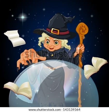 Illustration of a witch doing a spell - stock vector