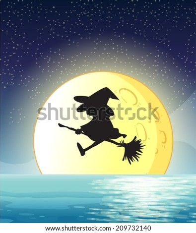Illustration of a witch flying with full moon background