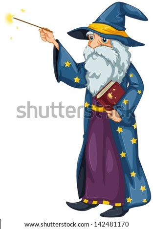 Illustration of a wizard holding a magic wand and a book on a white background - stock vector