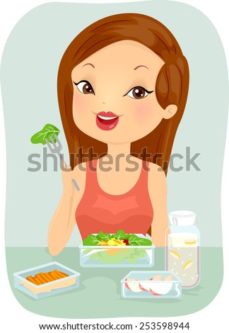 Illustration of a Woman Eating a Healthy Meal Pack - stock vector