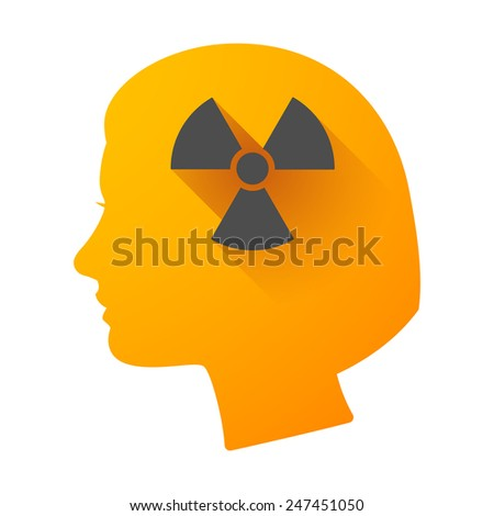 Illustration of a woman head icon with a radioactivity sign - stock vector