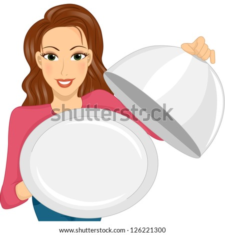 Illustration of a Woman Holding an Empty Dish Cover and Serving Plate - stock vector