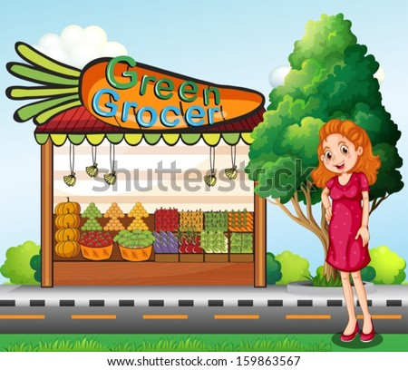 Illustration of a woman in front of the green grocery stall