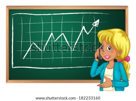 Illustration of a woman using her cellphone in front of the chalkboard on a white background - stock vector