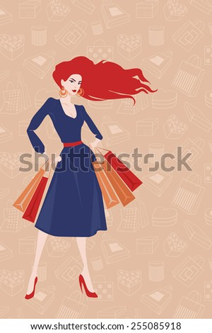 illustration of a woman with paper bags