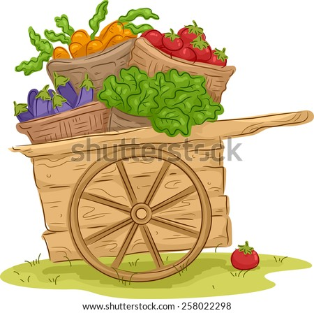 Illustration of a Wooden Cart Filled With Freshly Picked Fruits and Vegetables - stock vector