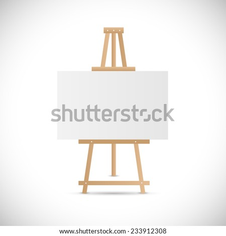 Illustration of a wooden easel isolated on a white background. - stock vector