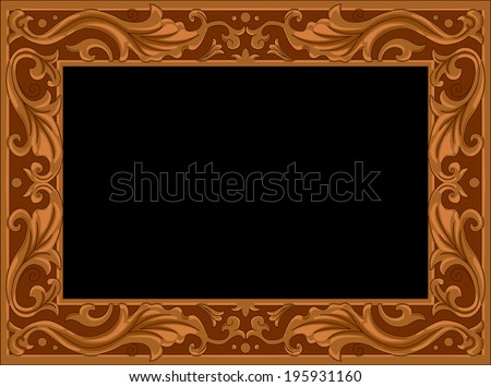 Illustration of a Wooden Frame with a Floral Design - stock vector
