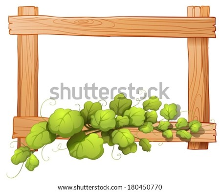 Illustration of a wooden frame with a leafy plant on a white background - stock vector