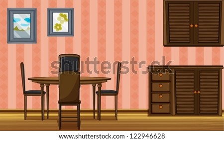Illustration of a wooden furniture in a room - stock vector