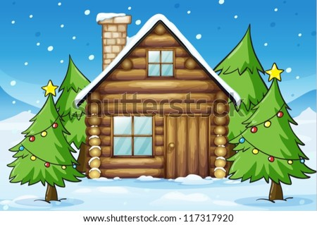 illustration of a wooden house in snowy land - stock vector