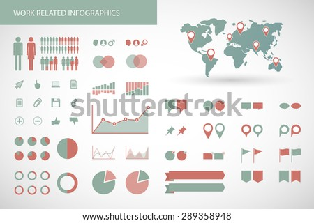 illustration of a   work  related infographics kit