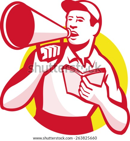 Illustration of a worker with bullhorn and book shouting set inside circle done in retro style. - stock vector