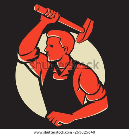 Illustration of a worker with hammer striking viewed from side done in retro style. - stock vector