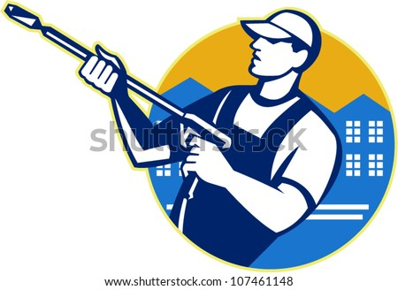 Illustration of a worker with water blaster pressure power washing sprayer spraying set inside circle done in retro style. - stock vector