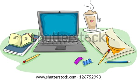 Illustration of a Workstation Featuring a Laptop, Notebooks, Pencils, Scraps of Paper, and a Cup of Coffee