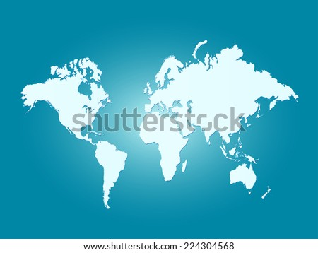 Illustration of a world map on a colorful background. - stock vector