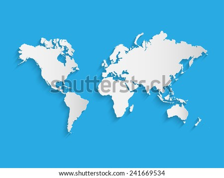 Illustration of a world map on a colorful blue background. - stock vector