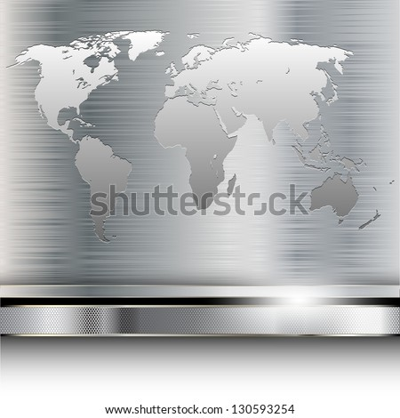 Illustration of a world map on metallic background. Vector. - stock vector