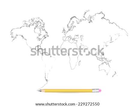 World Map Pencil Sketch