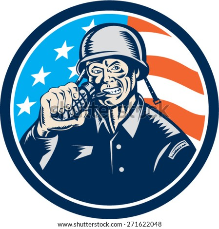 Illustration of a World War two American soldier serviceman biting grenade viewed from front set inside circle with usa american stars and stripes flag in the background done in retro woodcut style.  - stock vector