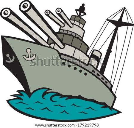 Illustration of a world war two naval battleship boat with big guns at sea done in cartoon style on isolated background. - stock vector