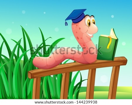 Illustration of a worm reading a book above the fence - stock vector