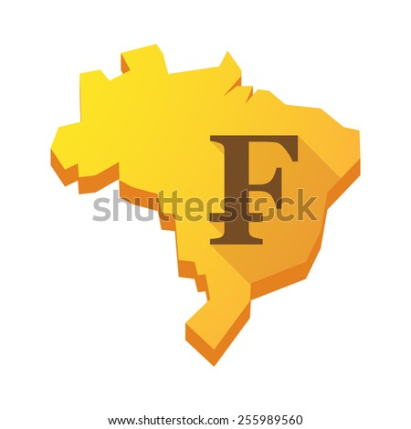 Illustration of a yellow Brazil map with a swiss franc sign - stock vector