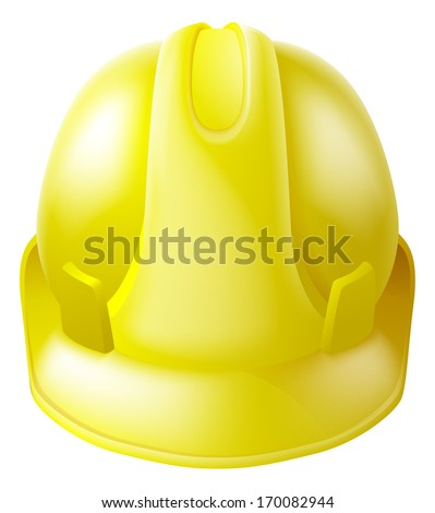 Illustration of a yellow hard hat safety helmet like those worn by construction workers - stock vector