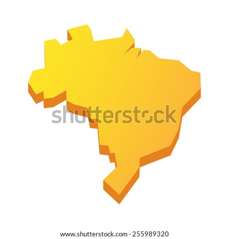 Illustration of a yellow isolated  Brazil map  - stock vector