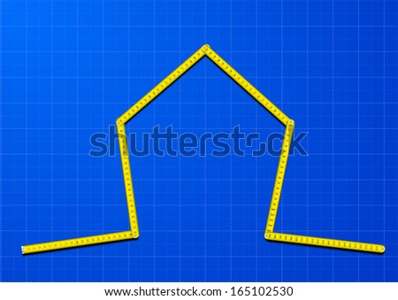 illustration of a yellow measure tape shaped as a house on a blueprint background, eps10 vector - stock vector