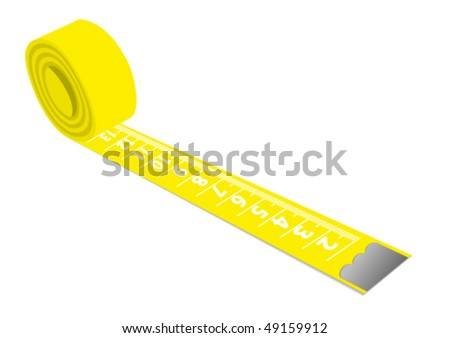 Illustration of a yellow measuring tape isolated on white background - stock vector