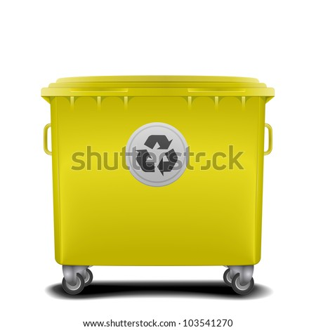 illustration of a yellow recycling bin - stock vector