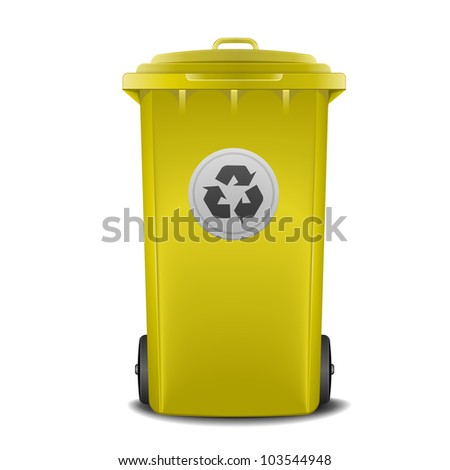illustration of a yellow recycling bin