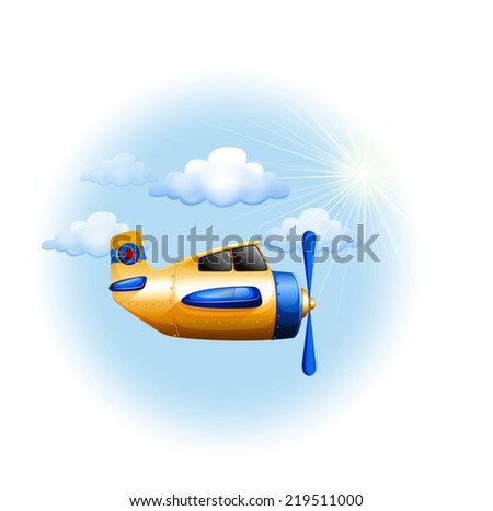 Illustration of a yellow vintage plane in the sky on a white background   - stock vector