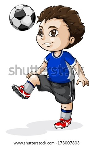 Illustration of a young Asian soccer player on a white background